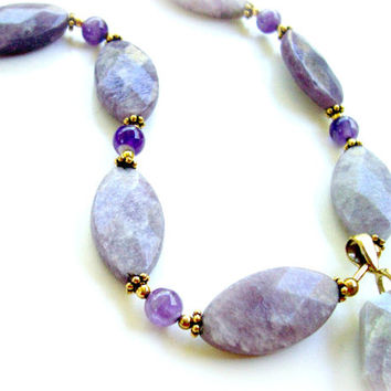 Natural  Facet Cut Lavender Stone and Amethyst Semi Precious Gemstone Necklace - Bootsie's World