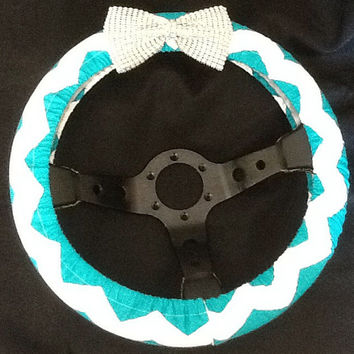 Turquoise chevron steering wheel cover with rhinestone bow