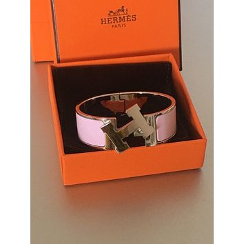 Hermes Clic Clac H Baby Pink Bracelet Retail $660 Free Shipping