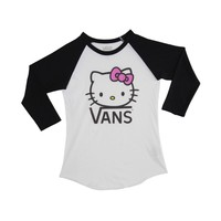 Womens Vans Hello Kitty Baseball Tee, Black White | Journeys Shoes