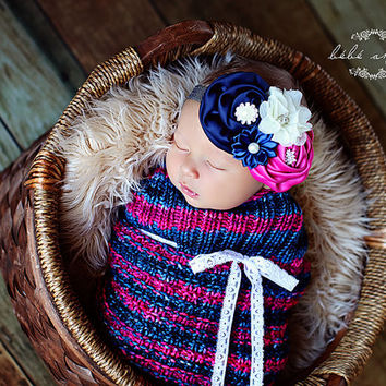 Navy and Pink Thermal Knit Newborn Baby Cocoon, Baby Swaddle sack, Baby Swaddle wrap, Photography prop
