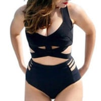 Plus Size Black Cut Out Strappy Spandex Cross Front Two Piece Swimsuit