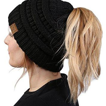 Funky Junque's CC BeanieTail Womens Ponytail Messy Bun Beanie Solid Ribbed Hat Cap