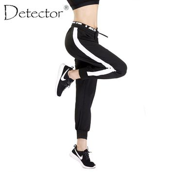 Detector Women Quick Dry Breathable Soft Pants Running Fitness Loose Pants Stripe Elastic Drawstring Trousers