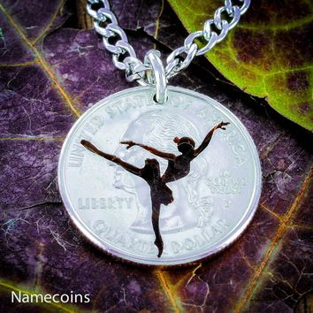 Ballerina necklace, Girl Ballet Dancer, hand cut coin by Namecoins