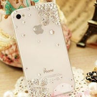 Handmade Luxury Designer Flower Five Leaf Grass Clover Bling 3D Special Crystal Case Cover For Apple iPhone Smart Mobile Phones (iPhone 5C)