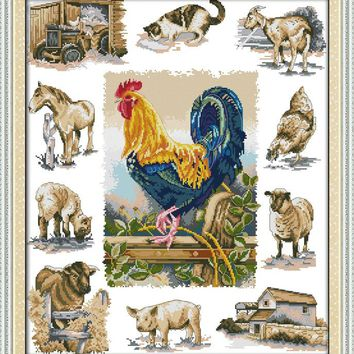 Domesticated Animals Canvas DMC Cross Stitch Kits Accurate Printed Embroidery DIY Handmade Needle Work Wall Set Art Home Decor