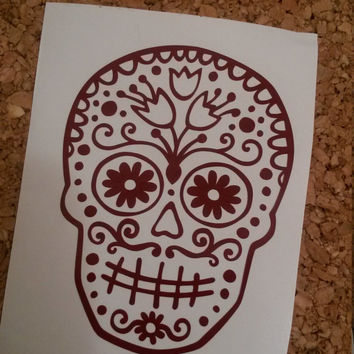Sugar Skull Decal | Sugar Skull Car Decal | Fancy Skull Decal | Sugar Skull Head Decal | Preppy Car Decal | Southern Car Decal |