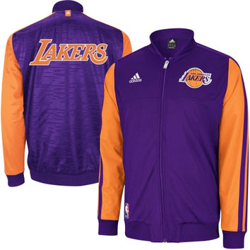 adidas Los Angeles Lakers On-Court Home Weekend Warm-Up Jacket - Purple/Yellow