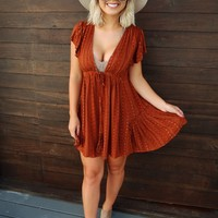 Caught In A Daze Dress: Burnt Orange