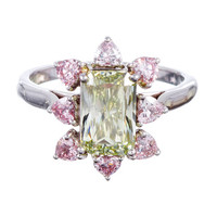 Fancy Colored Green Diamond Cluster Ring