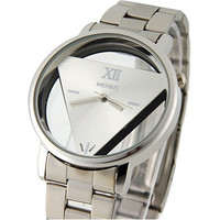 Wilon Men and Women Stainless Steel Watches with Triangle-Shaped Dail Plate