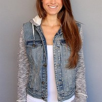 Indie Wash Sweatshirt Jean Jacket