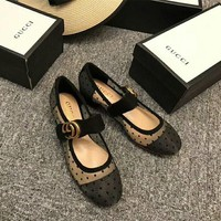"""Gucci"" Temperament Retro Fashion Polka Dots Perspective Gauze Mary Jane Shoes Women Middle Heels Shoes"
