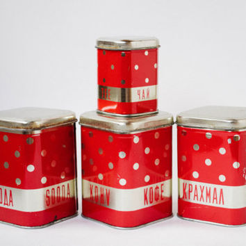 Red Polka Dot Tins / Soviet Vintage Kitchen Tin Boxes / 1970's USSR Russian Home Decor / Coffee, Soda, Starch & Tea Storage Tin Box Lot