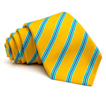 Kiton Yellow with Light Blue Stripe Tie