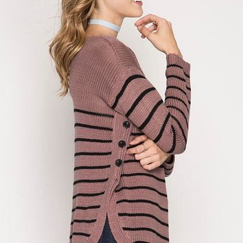 Striped Sweater with side buttons - Pink