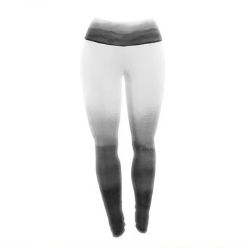 "Draper ""Ombre Ink Wash"" Gray Black Yoga Leggings"