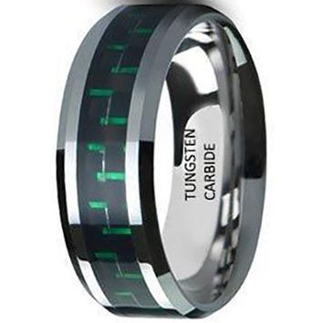 CERTIFIED 8mm Green & Black Carbon Fibre Tungsten Carbide Men Unisex Wedding Band Ring