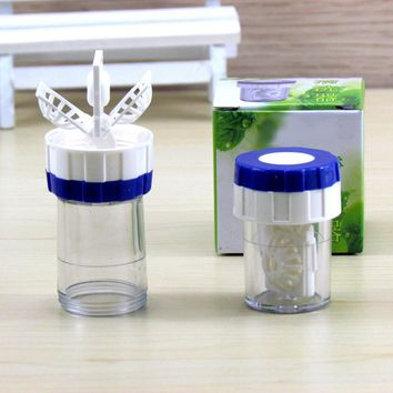 Eye Contact Lens Case Cleaner Manually One Plastic Contact Lens Cleaner Washer Cleaning Lenses Case Tool