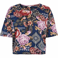 Navy floral tapestry print cropped t-shirt - crop t-shirts - t shirts / tanks / sweats - women