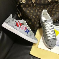 LV 2019 new high-end fashion trend women's casual sports shoes Grey print