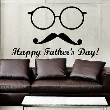 Wall Decal Quotes Happy Father's Day Mustache Decals Home Decor Sticker MR795