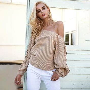 Simplee Sexy lace up winter knitted sweater pullover Women one shoulder loose sweater jumper Autumn batwing sleeve gray sweater