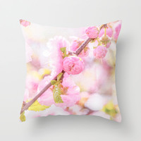 Pink sakura flowers - Japanese cherry blossom Throw Pillow by Digital2real