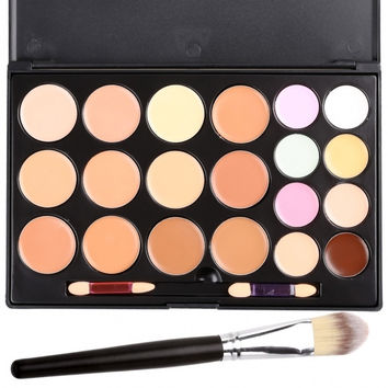 Professional 20 Colors Contour Face Cream Makeup Concealer Palette Powder Brush