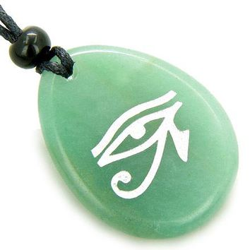 Magic Eye of Horus Money Amulet Word Stone Lucky Necklace