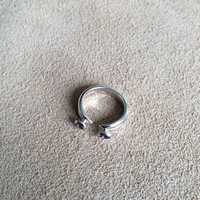 Sterling Silver Modern Open Ring with Purple end stones, High polished sterling silver double band