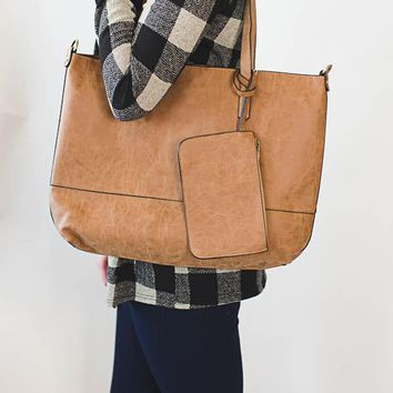 Brushed 2-in-1 Tote - Whisky
