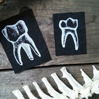 Occult patches - two tooth patches - teeth, punk patch, goth patch, pagan patches, witch, sew on patch, horror patch, Gothic, skull, pagan
