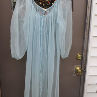 retro vintage  Sky Blue Chiffon LONG SEXY Sheer see thru nightgown robe one size