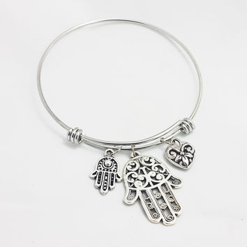 Designer Inspired Charm Bracelet with Hamsa / Fatima Hand & Heart with Love Charms