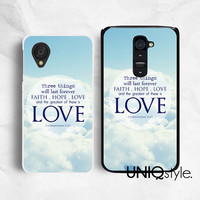 Life quote typo phone case for LG G2, Nexus 4, Nexus 5, LG google back cover, faith hope love, blue sky clouds heaven, bible, E39