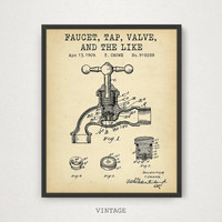 Resroom Decor, Fauset Valve Tap And The Like Patent Art Printable, Digital Download Blueprint Art, Bathroom Decor, Restroom Prints, Faucet