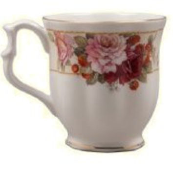 Set of 4 Strawberry Peony 12 oz. Mugs Fine Bone China with Gold Trim