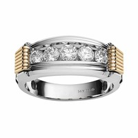 10k Gold Two Tone 1-ct. T.W. Diamond Ring - Men (White)