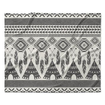 "Amanda Lane ""Native Roots"" Brown Gray Fleece Throw Blanket"