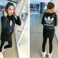 "Winter ""Adidas""  Fashion Coat Hooded T-shirt Bottoming Pants Trousers Set (3 Piece Set)"