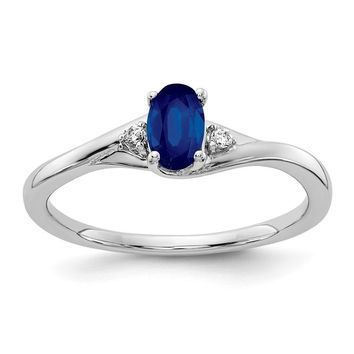 14K White Gold Diamond And Oval Genuine Blue Sapphire Ring