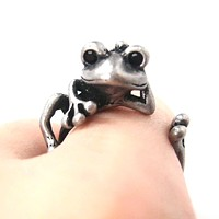 Funny Frog Animal Wrap Around Hug Ring in Silver - Size 4 to 9 Available