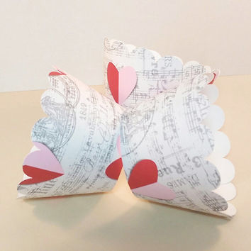 Cupcake Wrapper Heart In Paris, Wedding, Bridal Shower, Tea Party, Birthday Celebration, Valentine's Party, Ivory, Pink, Red, and Grey
