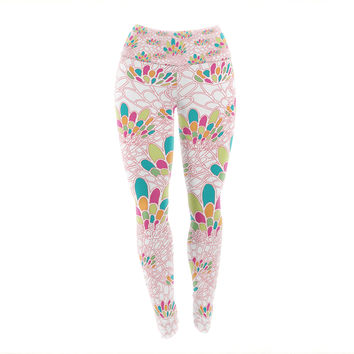 "Miranda Mol ""Blown Away"" Pink Multicolor Yoga Leggings"
