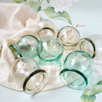 Glass Cupping Cups Set of 8 / Pastel Mint Green and Clear Grey Soviet Vintage Medical Fire Massage Jars