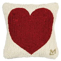 """Have a Heart Hooked Wool Pillow - 14"""""""