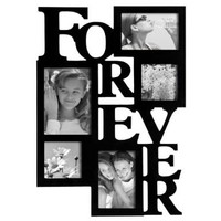 "ADECO PF0001-B 5-Opening Black Wooden Wall Hanging Collage Photo Picture Frames - Holds 4x4 4x6 5x7 Inch Photos,Saying ""FOREVER"",Home Decor Wall Art,Best Gift:Amazon:Home & Kitchen"