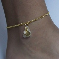 Sea Glass Anklet with Gold Shell and Chain
